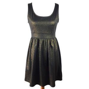 Forever 21 Black & Gold Sleeveless Skater Dress